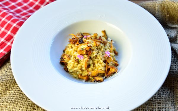 Mushroom foraging = mushroom risotto at Chalet Cannelle in Chatel, France