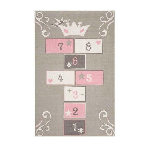 tapis enfant marelle en coton grisrose 120 x 180 cm princesse - Tapis De Chambre Fille