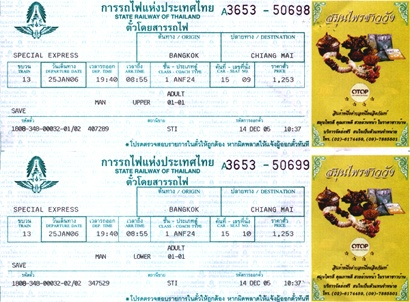 Train Tickets Sample - Thailand train travel guide by SiamHotel.net