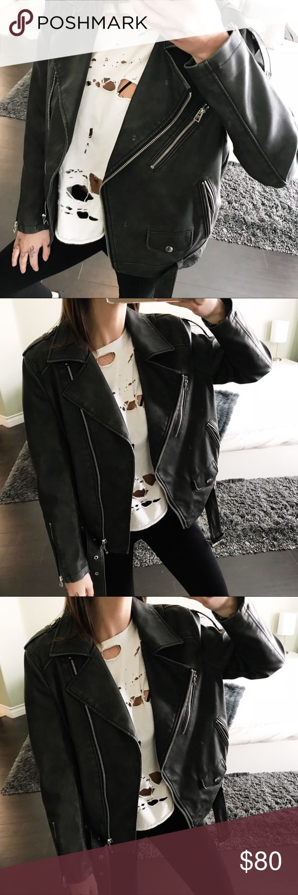 Black leather biker jacket Really sleek black leather biker jacket from top shop! I love this jacket so much perfect for fall and winter!! Jackets & Coats