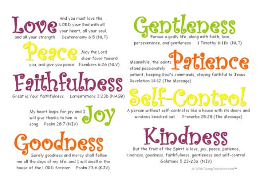 The Fruit of the Spirit I would look up the kjv verses
