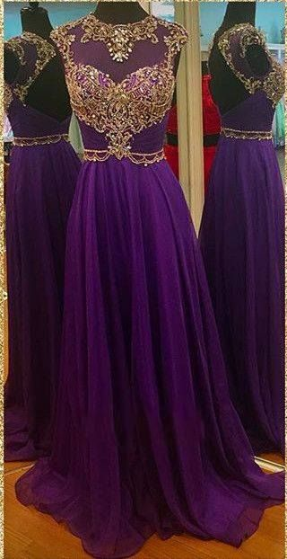 2016 long purple prom dresses, beaded backless prom dress, purple chiffon prom dress