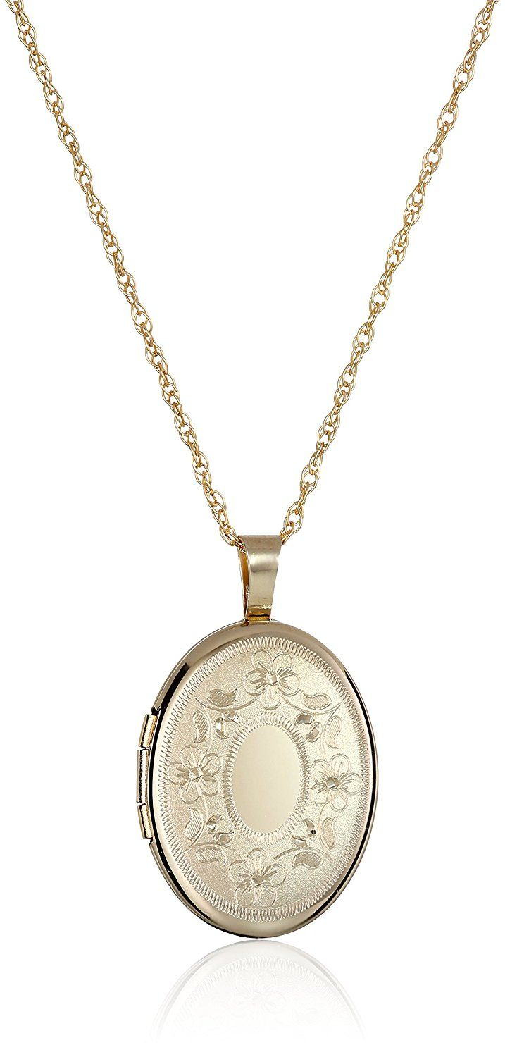 14k Gold-Filled with Floral Design and Center Signet Oval Hand Engraved Locket Necklace, 18' * To view further for this item, visit the image link.