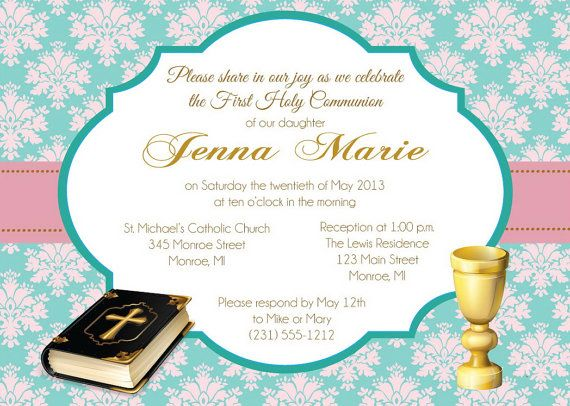 Girl's First Communion Invitation Communion by FabPartyPrints