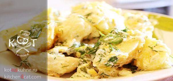 ★ Молодой картофель под сметанным соусом ★ #картофель #бекон #сметана #уксус #укроп