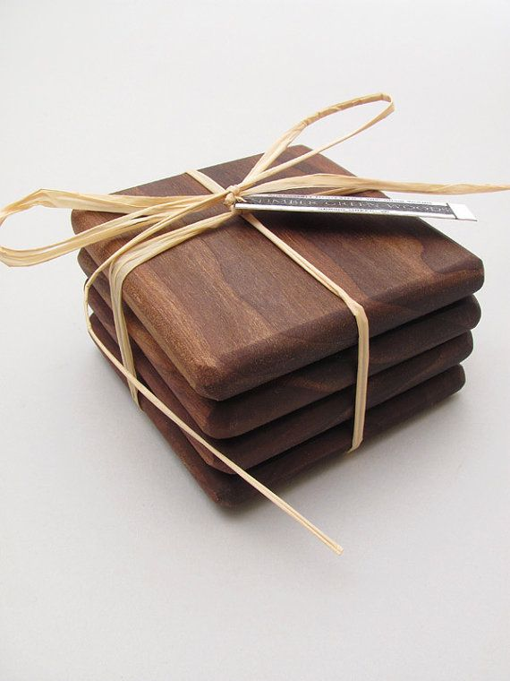 Black Walnut Wood Coasters Set Simply Natural por TimberGreenWoods