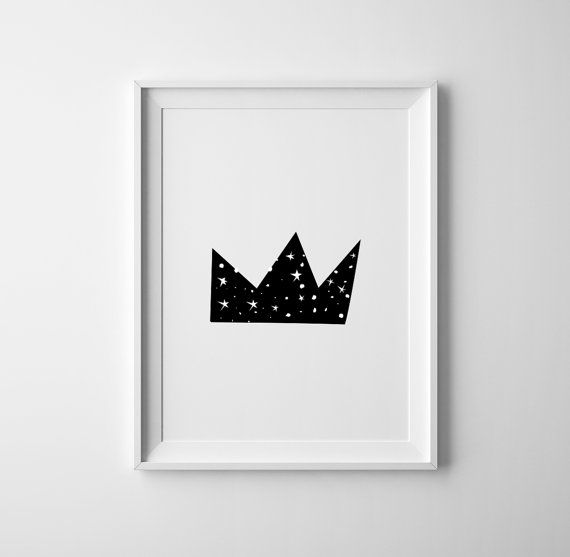 Little prince crown illustration for baby nursery. Art and collectibles,wall art, scandinave, nursery decor. Minimalist Nursery print.