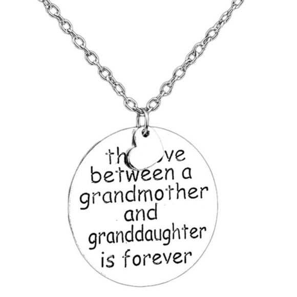 Grand mother / Grand daughter love bond necklace The love between a grandmother and granddaughter is forever❤️Brand new✨Metal: zinc alloy✨ Chain length: 58cm✨ Pendant size: 3.2cm✨Color : Silver✨ let me know which color would you like✨expect fast shipping  Any questions please ask please check out my other listings✨ 20% off on bundles buy more  save more  Jewelry Necklaces