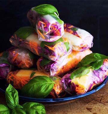 Rouleaux de printemps melon basilic - les meilleures recettes de cuisine d'Ôdélices
