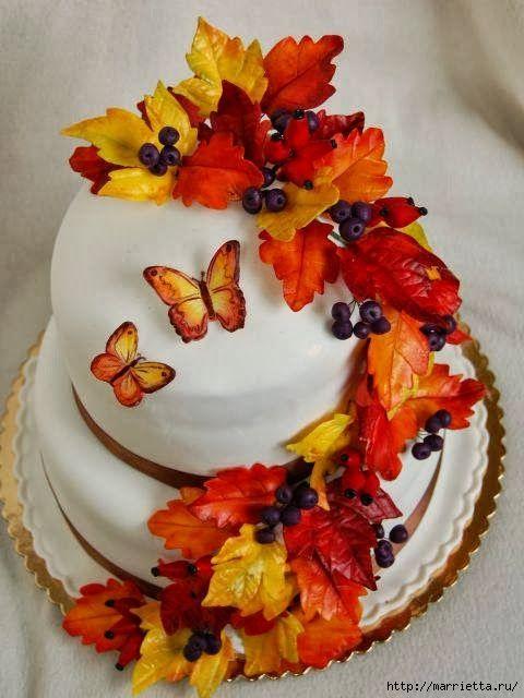 Осенние марципановые 3D торты. Идеи