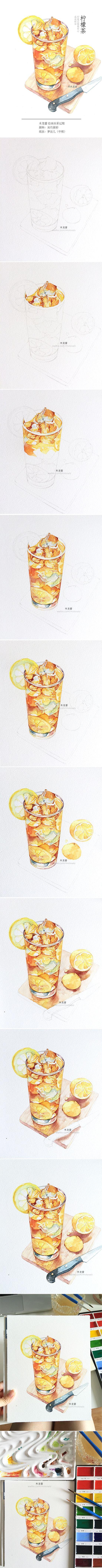 #木龙蕾/绘# 冰柠檬茶 手绘水彩教程 水彩过程 插画 步骤图
