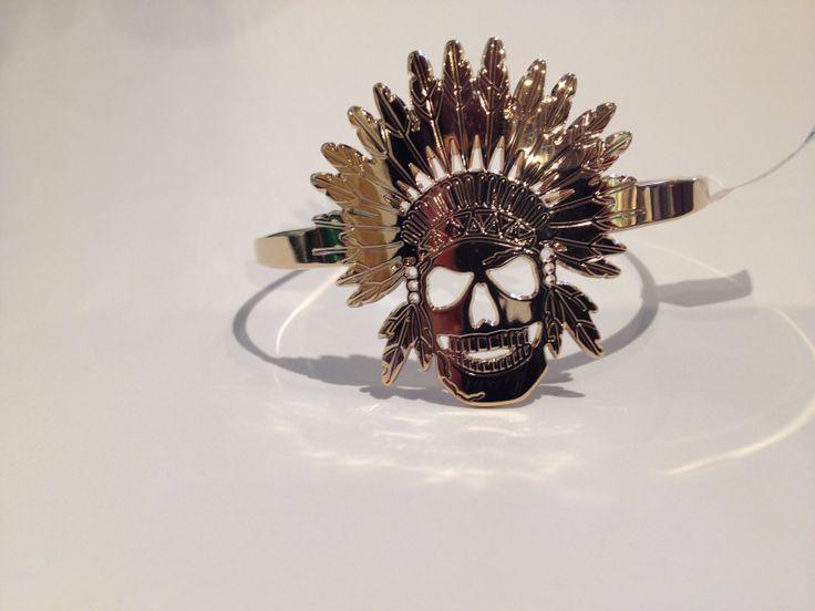 Bracelet jonc tête d'indien plaque or