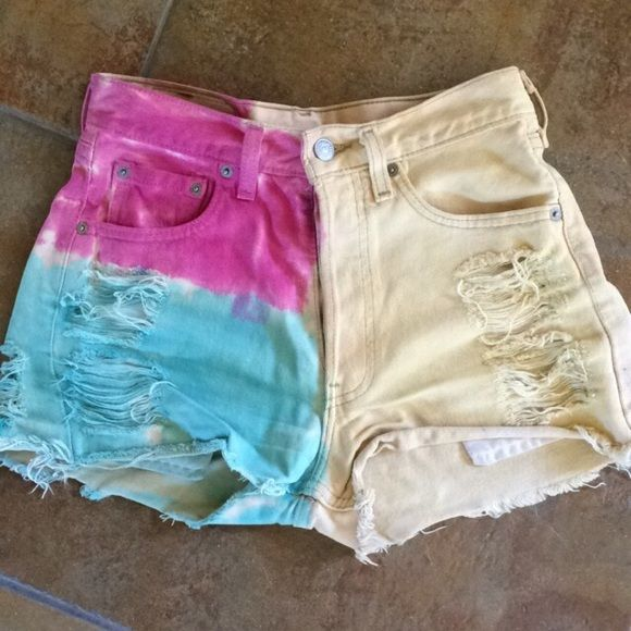distressed tie-dye Levi high waisted shorts Brandy Melville, size 24 or 0, vintage Levi's, ripped, distressed, tie-dye, couple years old but in great condition, (distressed & ripped is how I bought it) Levi's Shorts Jean Shorts