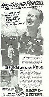 Jack Purcell Badminton Champion Bromo-Seltzer 1939 AD