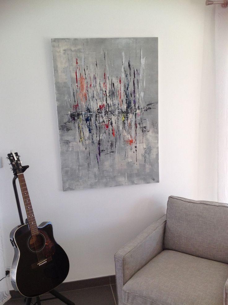 Tableau abstrait a la voile peinture acrylique 80x116 d coratio - Tableaux toiles decoration ...