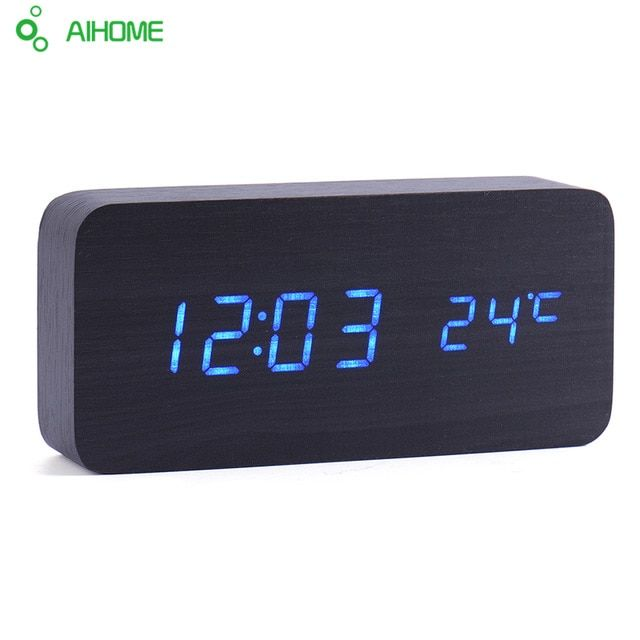 Led Wooden Clock New Designer Thermometer Led Digital Clock Desktop Table Clock Sound Control Alarm Clocks 4 Color Word Shows Review Led Alarm Clock Clock Alarm Clock