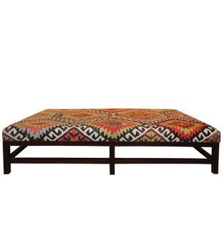 Lexington Ottoman with Colorful Vintage Kilim / perfect idea for a coffee  table