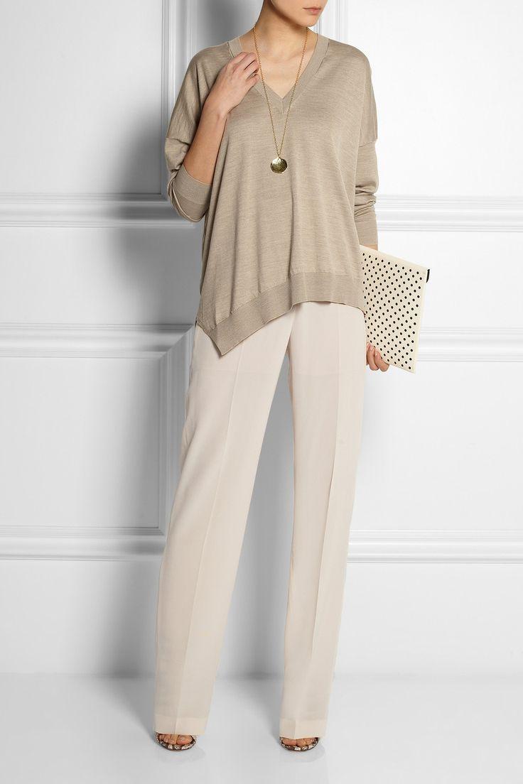 Stella McCartney|Felice silk crepe de chine wide-leg pants|