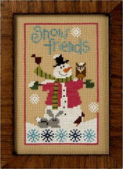 Lizzie Kate Flip-It, Snow Friends - Snowman Counted cross stitch pattern chart with button