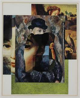 Jiri Kolar Un Racconto su un Cavaliere con Falcone-1988 collage Misure cm: 40 x 32
