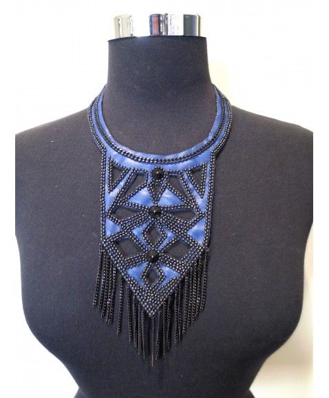 LAVISH PANDORA NECKLACE  Laser-cut royal blue leather dotted with tiny black beads and studs, finished with black fringing Bib style statement piece this coloured leather design will look perfect with your Winter knit or plain t-shirt in Summer Materials include leather, plated brass. Only 5 created Please store this necklace flat whilst not wearing  http://www.scarletrunway.com.au/accessories-c5/lavish-pandora-necklace-p47/