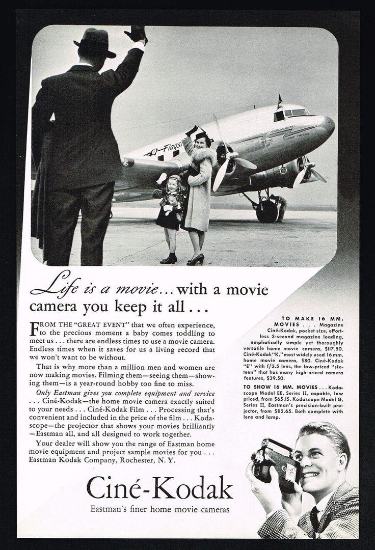 DC3 Kodak advert 1940's. Vintage aircraft, Movie