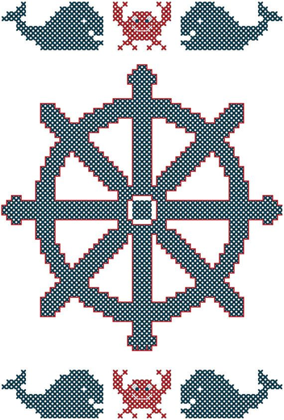 Cross Stitch Pattern Ship Steering Wheel with Crabs & Whales Nautical Theme Cross Stitch