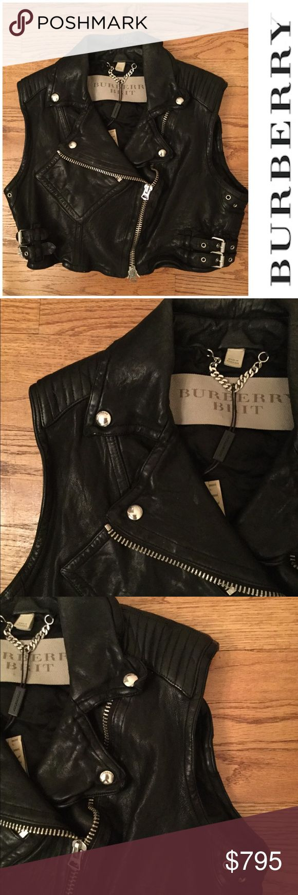 """🆕 Burberry Brit lamb leather crop moto vest Underarm across 19"""". Length 16"""".  Brand new with tag. Retail price $1595.  Smoke free and pet free. Burberry Jackets & Coats Vests"""