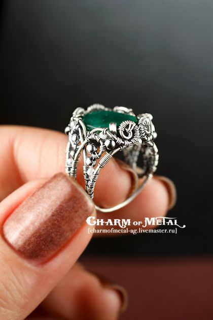 """Inspiring and beautiful wrapping. """"In the name of the Queen"""" Silver emerald ring"""