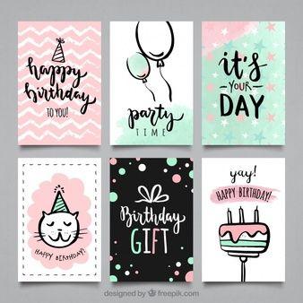 Coleção de cartões de festa bithday da cor da água
