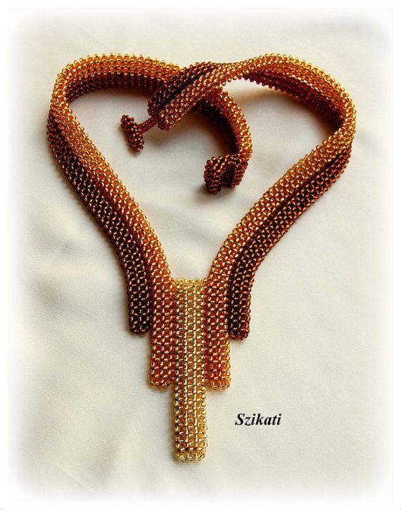 Cuentas collar marrón oro miel joyería de perlas de por Szikati