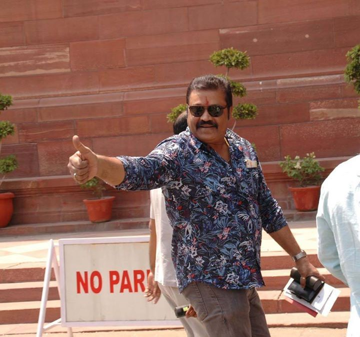 Malayalam actor and singer Suresh Gopinathan commonly known as Suresh Gopi  on arrival at Parliament house