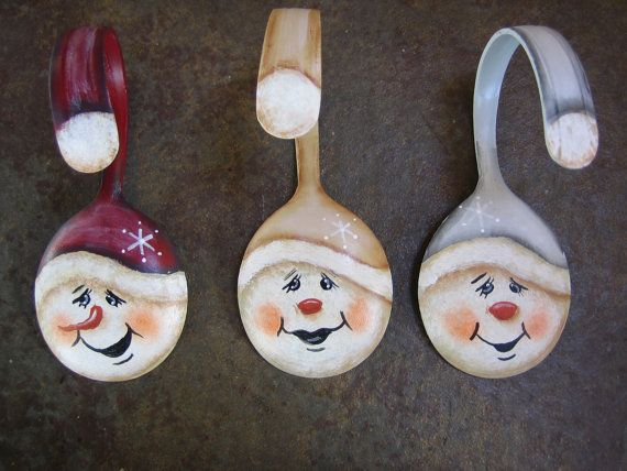 See how cute these guys are? Each one has his own personality, no two are alike. These Snowman Spoon Christmas Ornaments are hand painted with