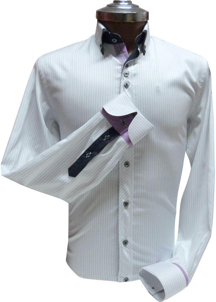 Camisa blanca a Rayas - Slim Fit 100% algodón con aplicaciones en cuello y puños. Ehgho - Perú.