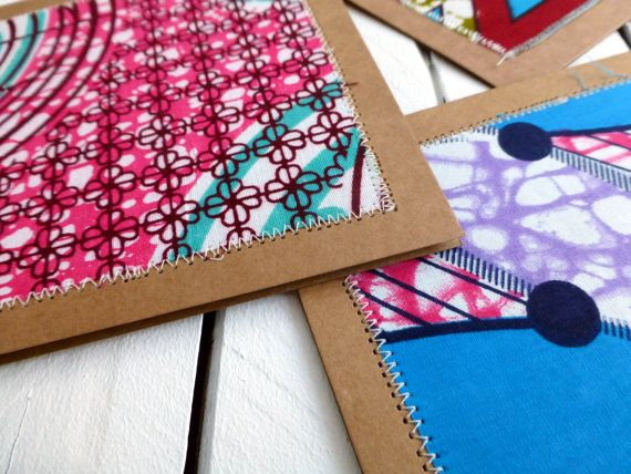 60 African wax print stitched card set with by ChilliPeppa on Etsy