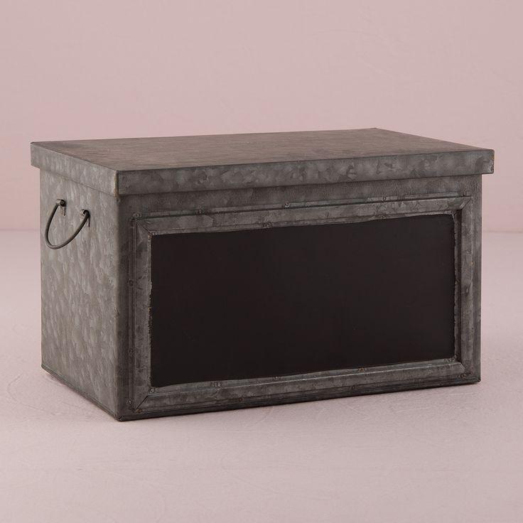Tin Box with Aged Finish & Blackboard Panel Display Large