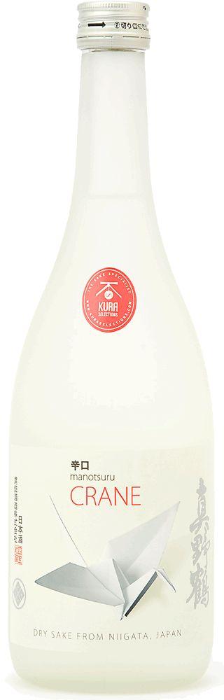"""Manotsuru """"Crane"""" Karakuchi sake by Kura Selections. #japanese #package #design"""
