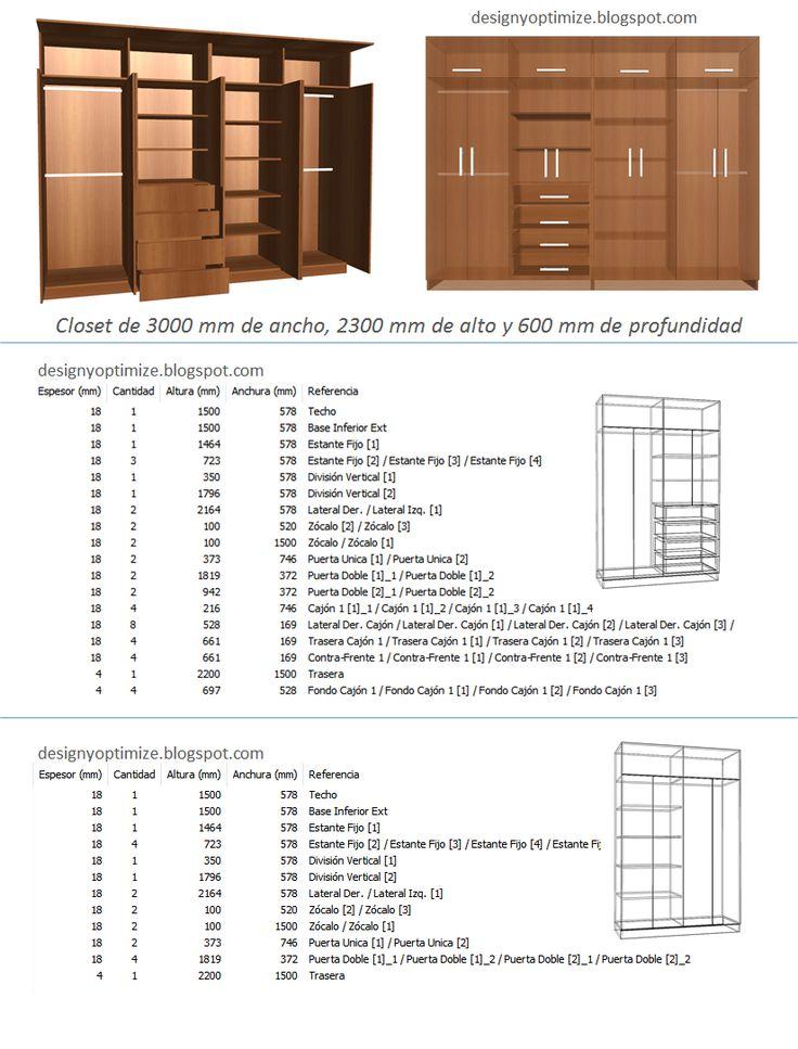 Dise o de muebles madera fabricando closet 3 metros de for Software diseno de armarios