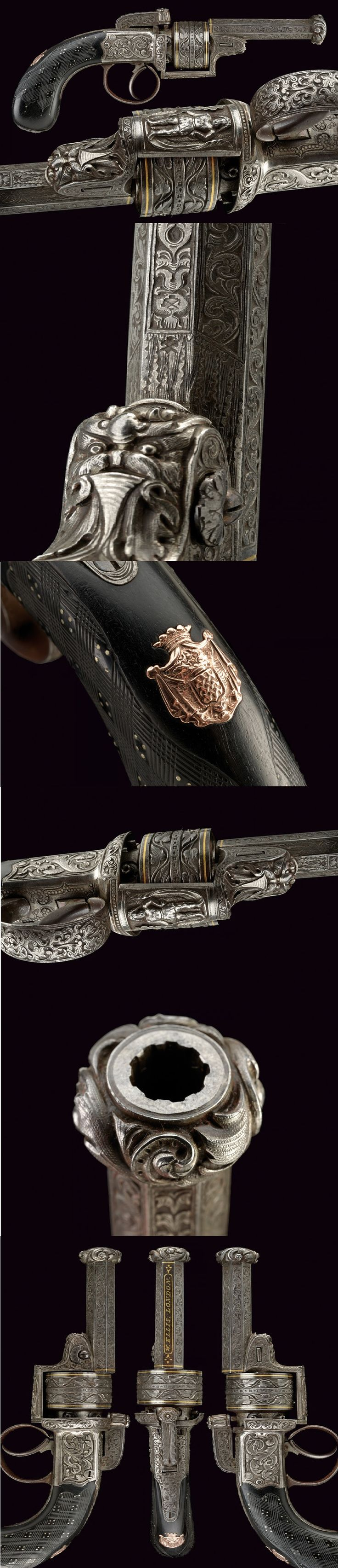 A superb engraved transition percussion revolver by Ellis,   provenance:	 	London dating:	 	mid-19th Century.