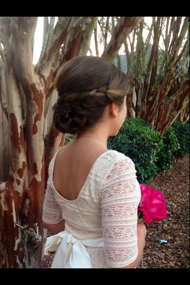Teenager Hairstyles, Teen up do, Jr. Bridesmaid hairstyle, Braided up do