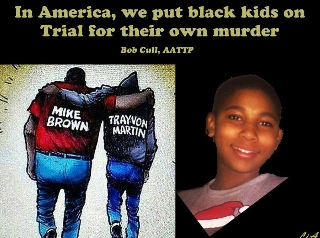 In America Black men/children are put on trial for their own murder.......Trayvon Martin, Mike Brown, Tamir Rice......Eric Garner.....and many more