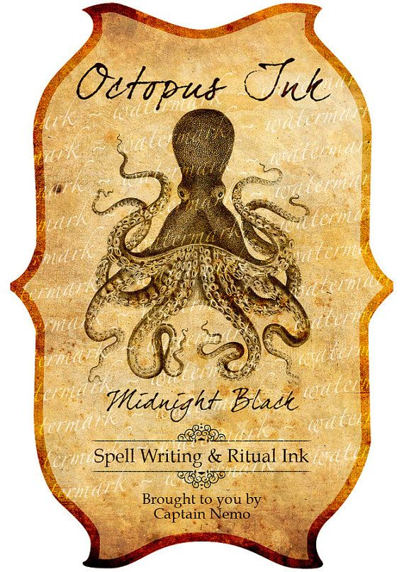 octopus ink halloween decor potion bottle or apothecary jar label print out