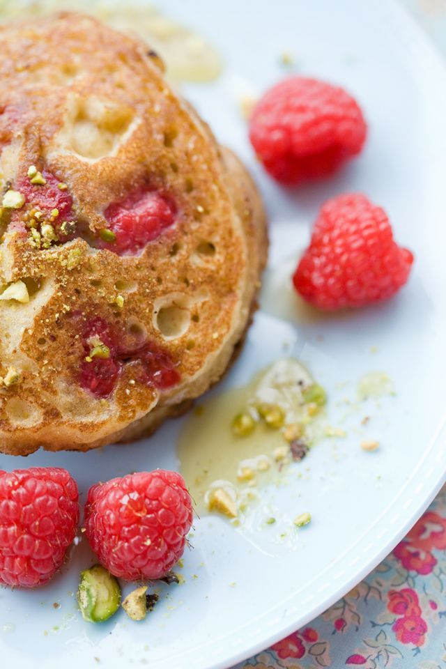 Almond and Raspberry Pancakes by tartineandapronstrings