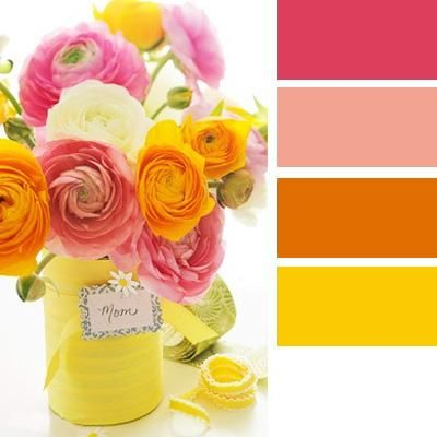 modern interior colors-yellow,pink and orange color schemes for bright, cheerful and warm interior decorating inspired by beautiful flowers