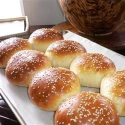 "Burger or Hot Dog Buns | ""I've been making this recipe for a few years now. It's even easier if you have a bread maker. Just throw all of the ingredients into the bread maker, making sure to slightly beat the egg first. Run it on the dough cycle. Once that's complete, follow the rest of the recipe from step 3."""