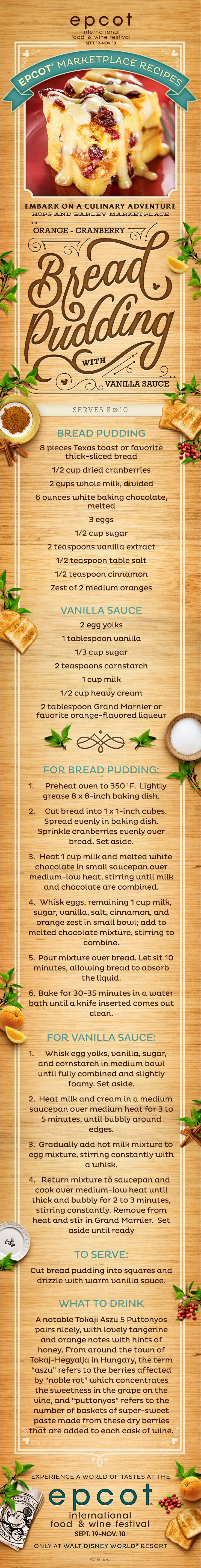 Bread Pudding with Vanilla Sauce recipe from Epcot International Food & Wine Festival at Walt Disney World