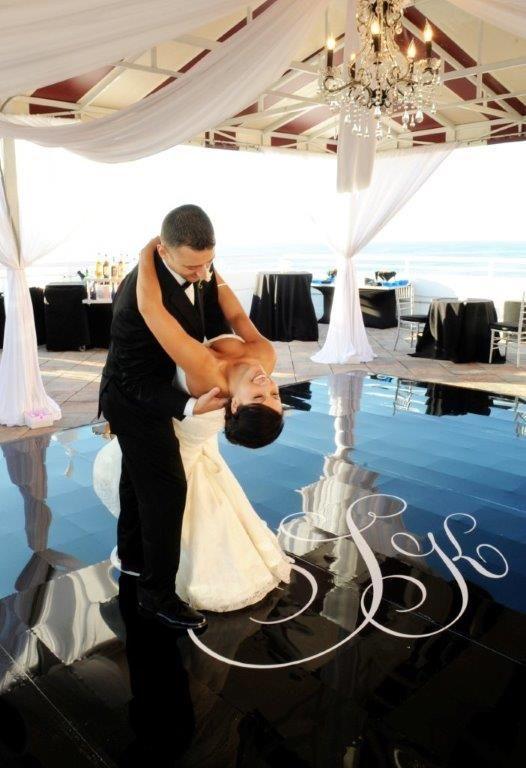 Black Dance Floor with White Monogram CAMILLE and KOSTAS get married - Greek Wedding- Don CeSar Ballroom Reception | Georgia Watson Events Inc. ~ Weddings by Georgia