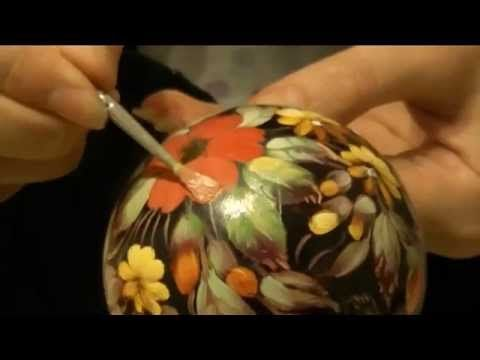 Мастер-класс росписи ёлочного шара СВОИМИ РУКАМИ в технике Жостово - YouTube