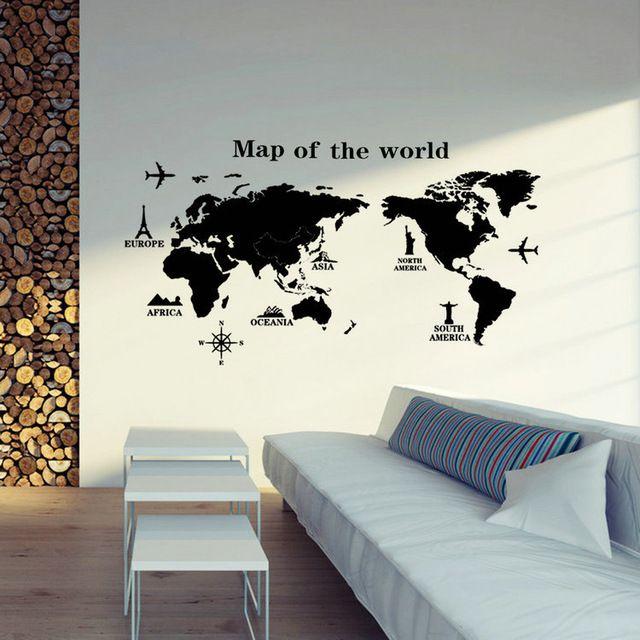 Büyük Dünya Haritası Duvar Çıkartmaları Orijinal Yaratıcı Haritası Wall Art Yatak Odası Ev Süslemeleri Duvar Çıkartmaları Hediye