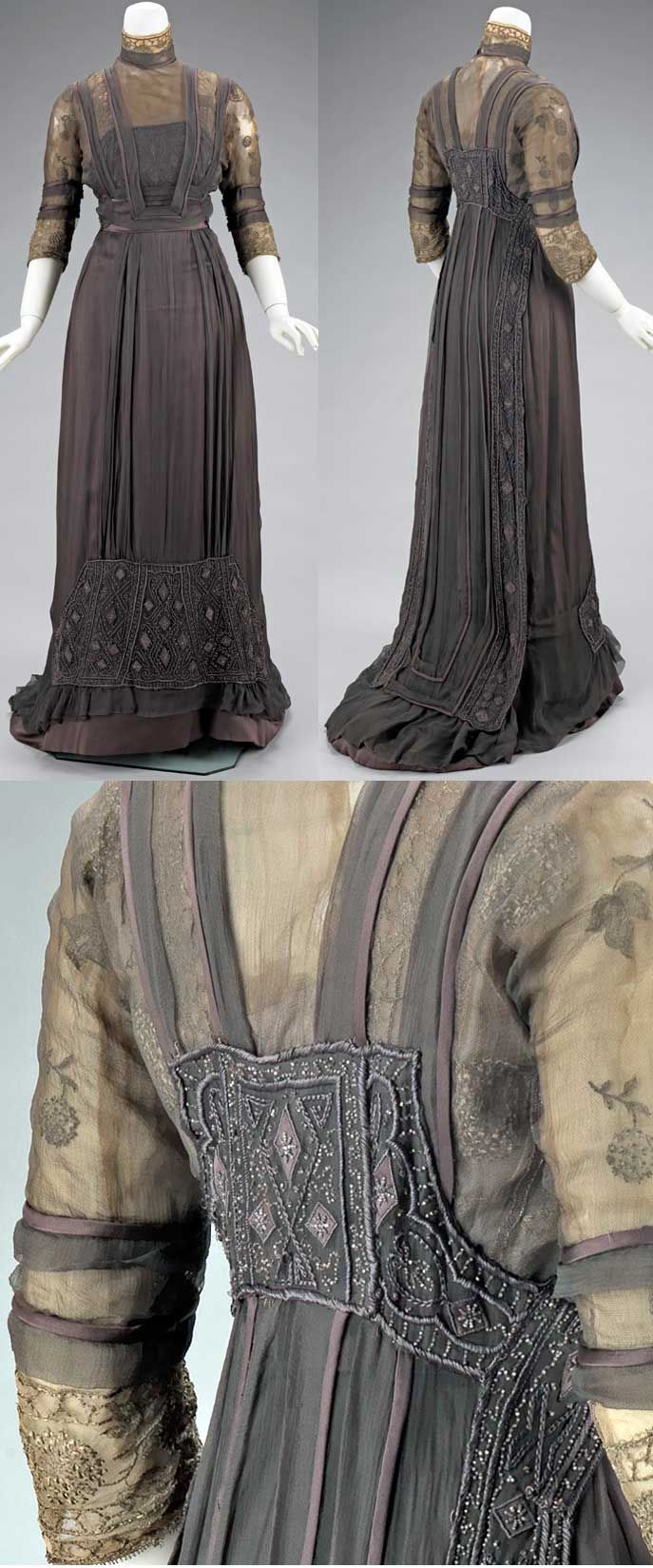 Dinner dress, House of Pacquin (Mme. Jeanne Pacquin), spring/summer 1909. Silk with metal trim.